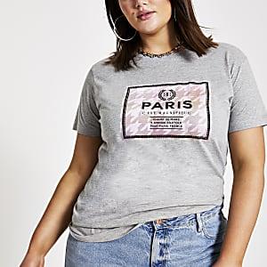 Plus – T-shirt avec imprimé rectangulaire «Paris» gris