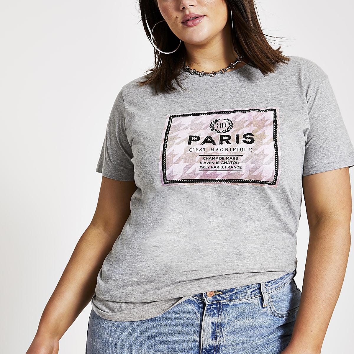 RI Plus - Grijs T-shirt met Paris-print in vak