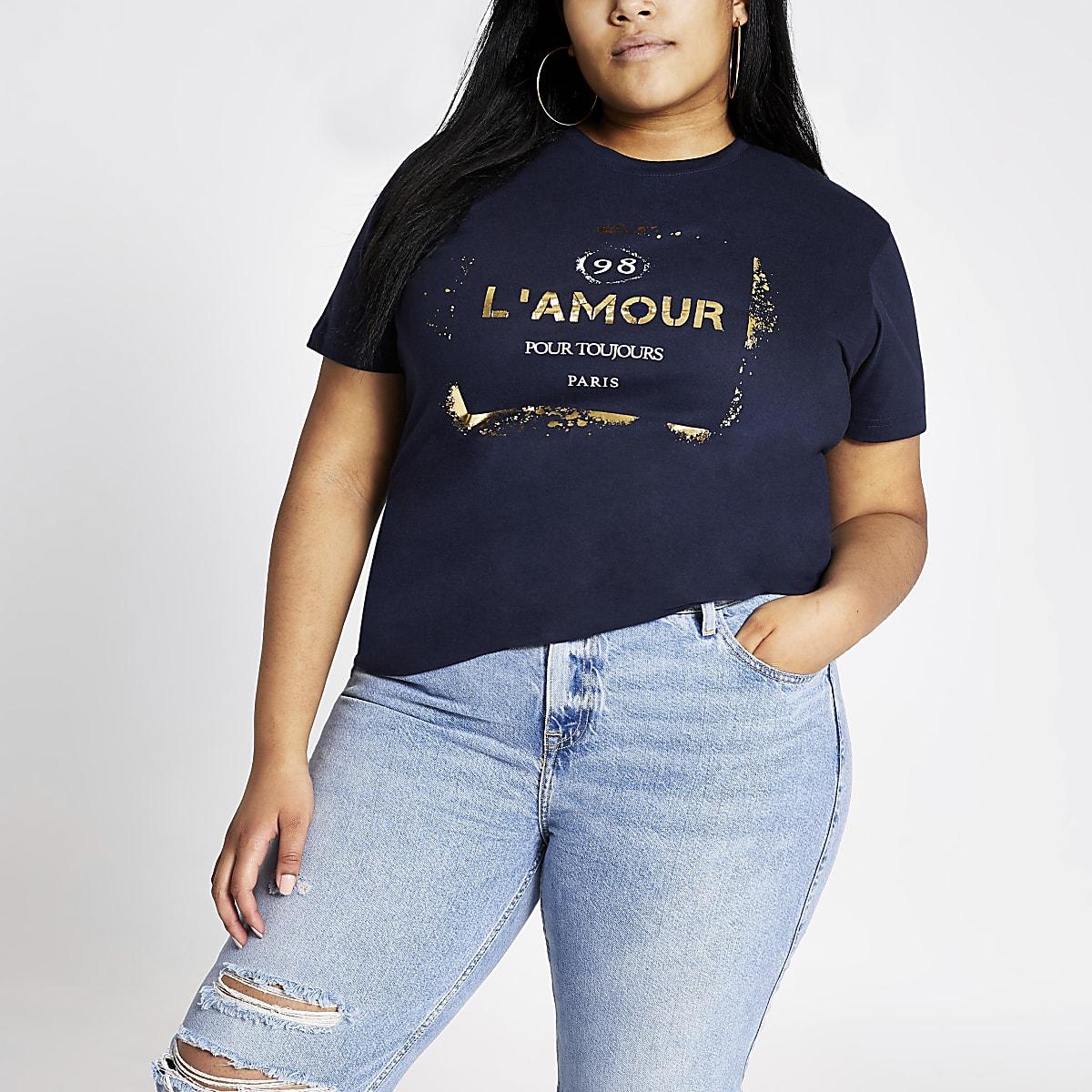 Plus navy foil print T-shirt