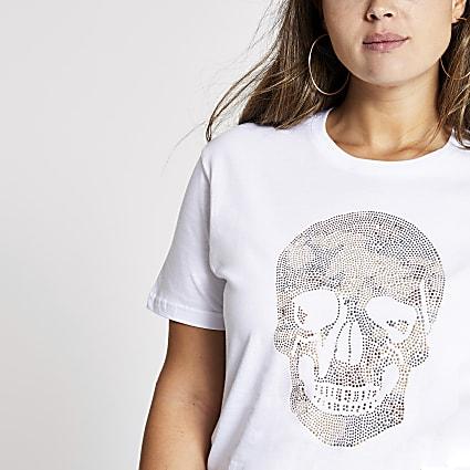 Plus white embellished skull print T-shirt