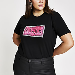 Plus black glitter printed T-shirt