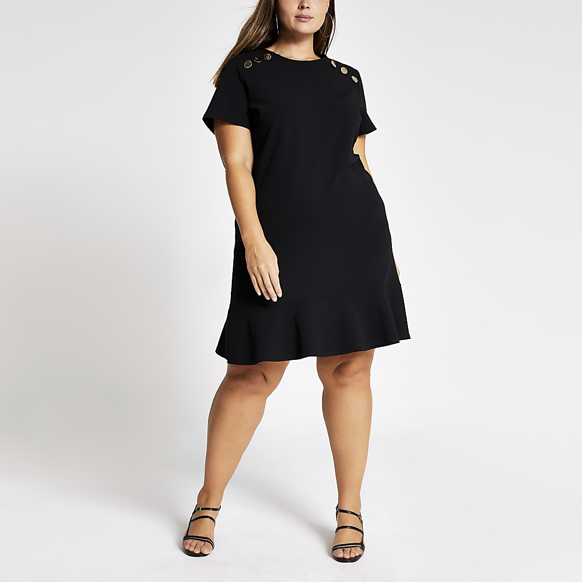 Plus black short sleeve peplum shift dress