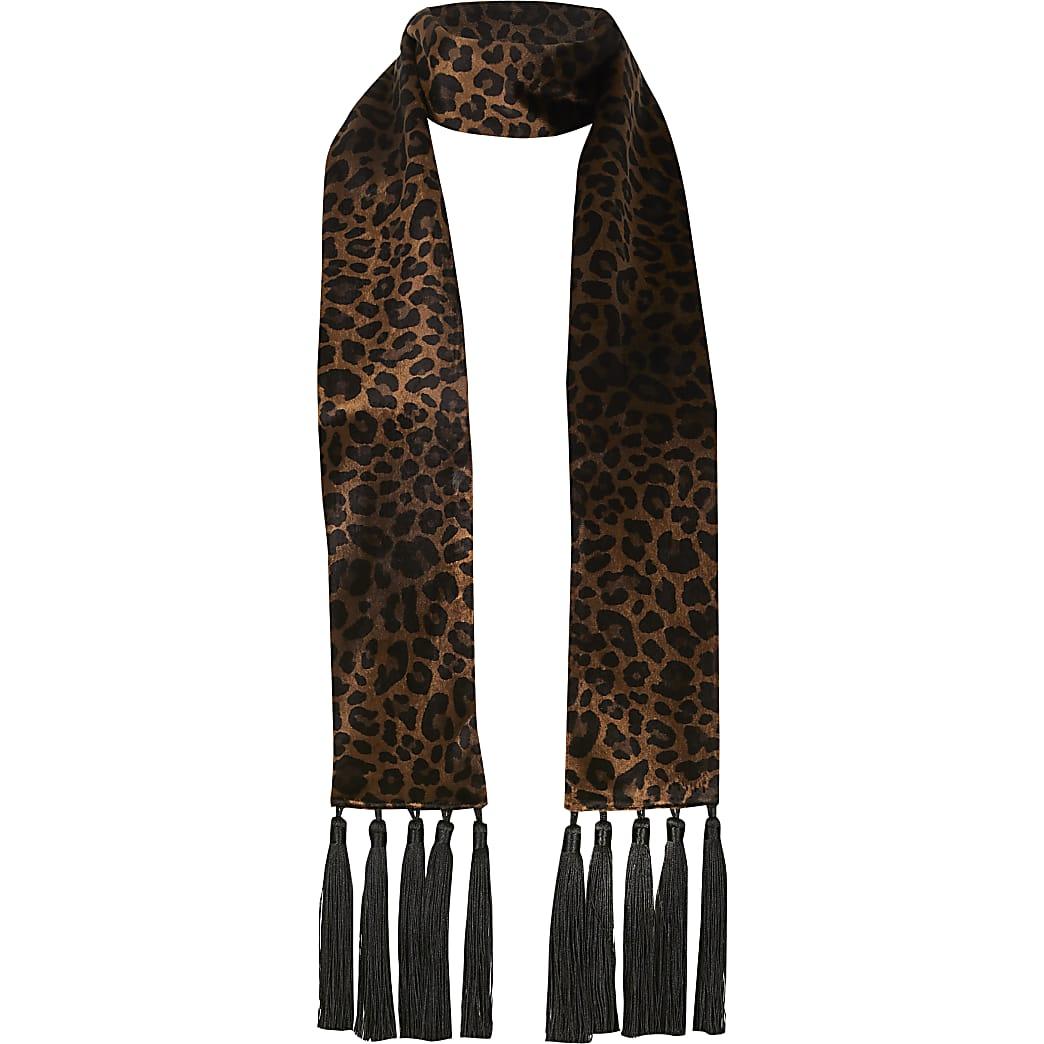 Brown velvet leopard print slim tassel scarf