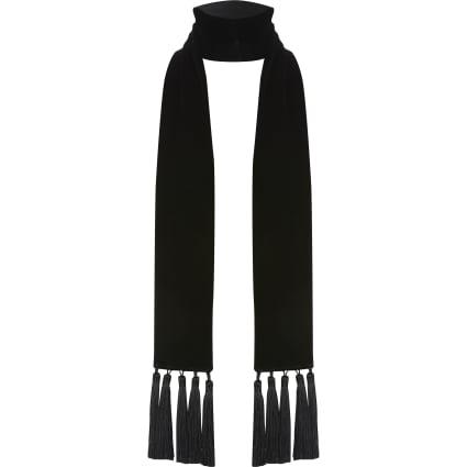 Black velvet tassel slim scarf