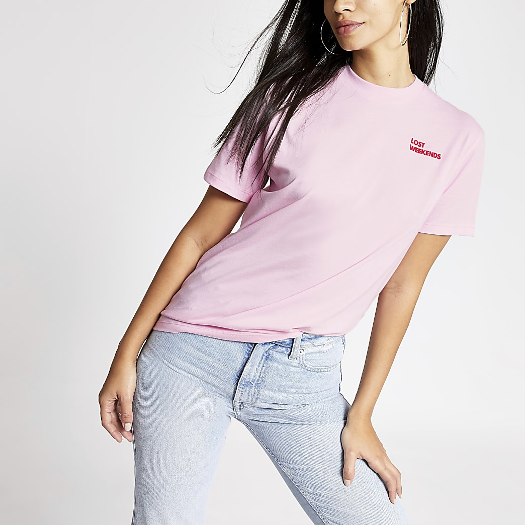 Tee & Cake - Roze T-shirt met 'Lost weekends' print