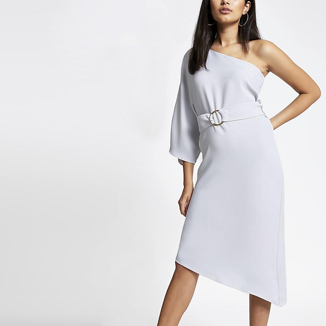 Grey one shoulder midi swing dress