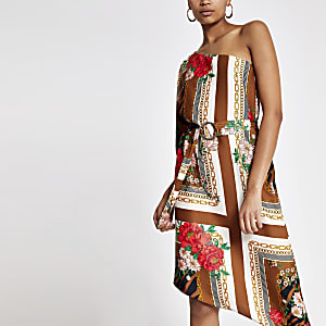 Brown printed one shoulder swing dress