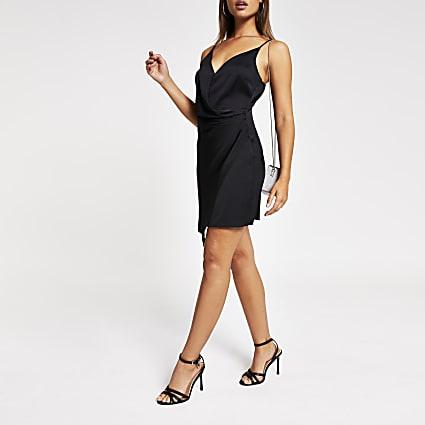 Black wrap front mini slip dress