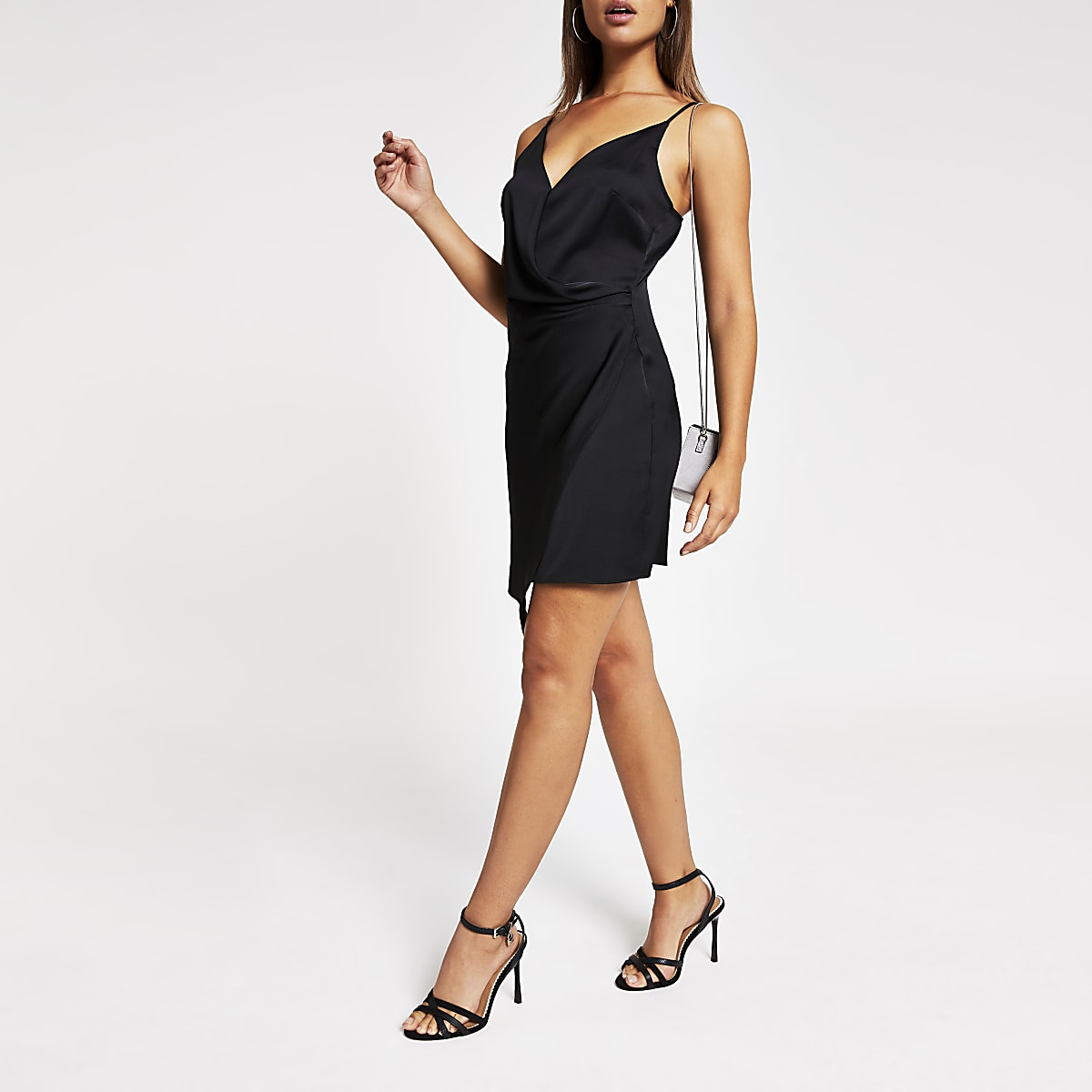 Black wrap front mini slip dress