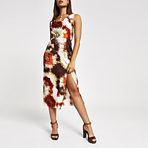 Brown tie dye cowl neck midi slip dress