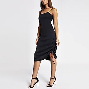 Black ruched side slip dress