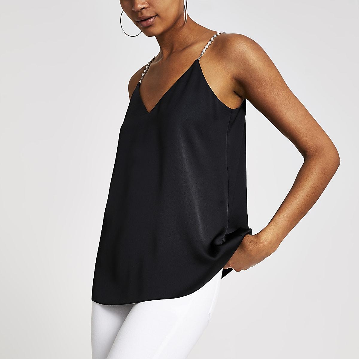Black embellished strap cami