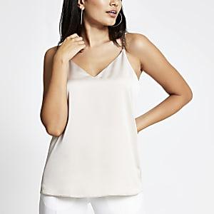 Beige embellished strap cami