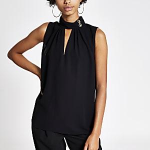 Black high neck cutout top