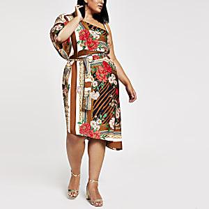 RI Plus - Bruine midi-jurk met blote schouder en print
