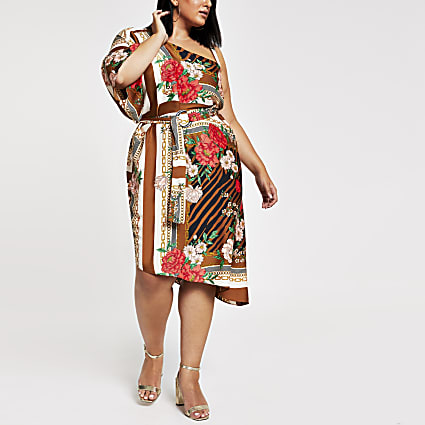 Plus brown print one shoulder midi dress