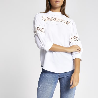 White Lace Insert Long Sleeve Top by River Island