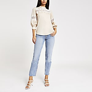 Beige lace long sleeve top