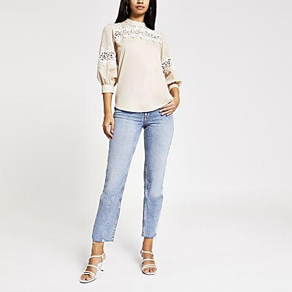 Beige lace long sleeve top