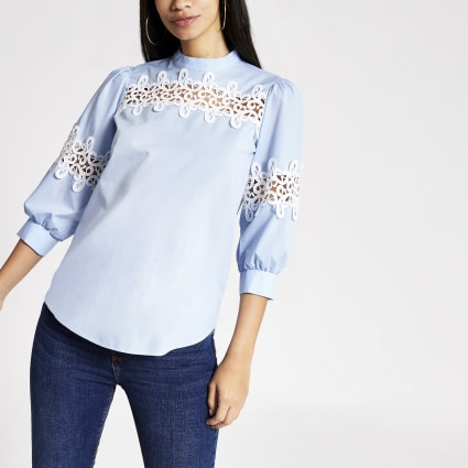 Blue lace long sleeved top