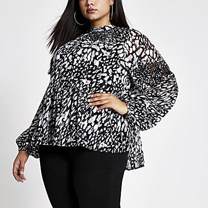 Plus black printed long sleeve blouse