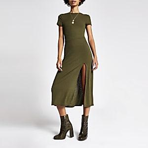 Kaki A-lijnmidi-jurk met korte mouwen