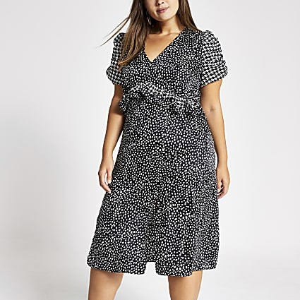 Plus black polka dot puff sleeve midi dress