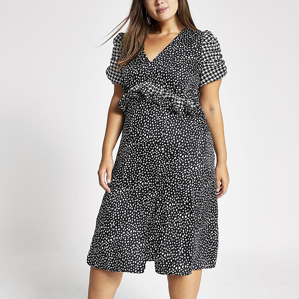 RI Plus - Zwarte midi-jurk met stippen en pofmouwen