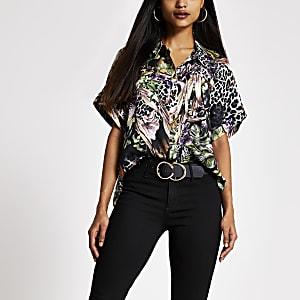 Petite -T-shirt imprimé noir à manches courtes