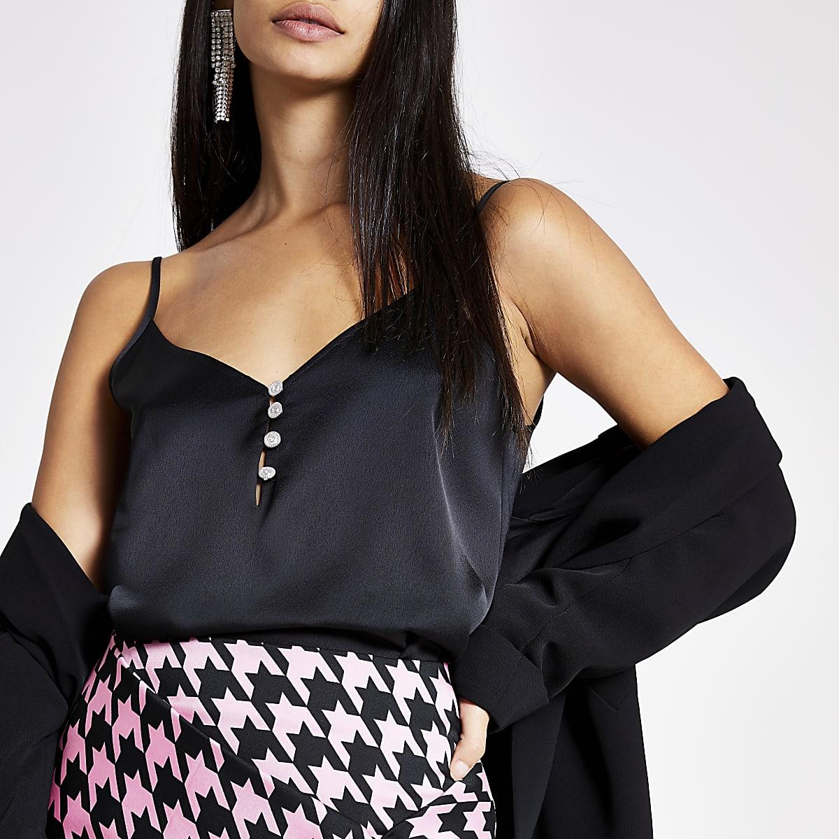 Black diamante button front cami
