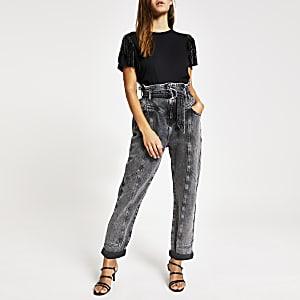 Petite – T-shirt noir à pampilles aux épaules