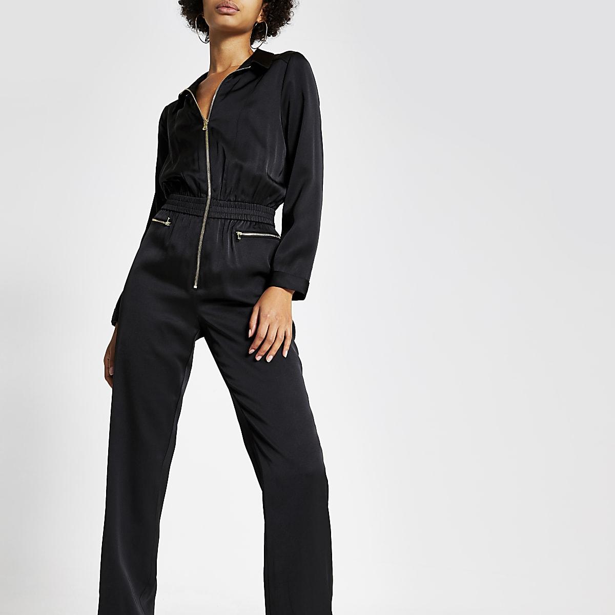 Black satin zip front boiler jumpsuit