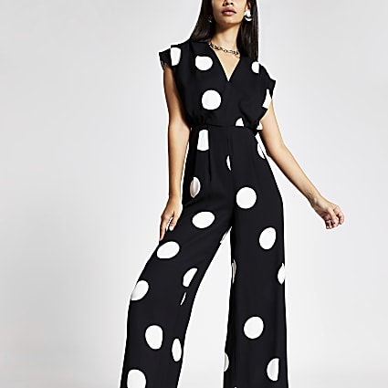 Black spot wide leg V neck jumpsuit