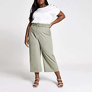 Plus khaki belted wide leg trousers