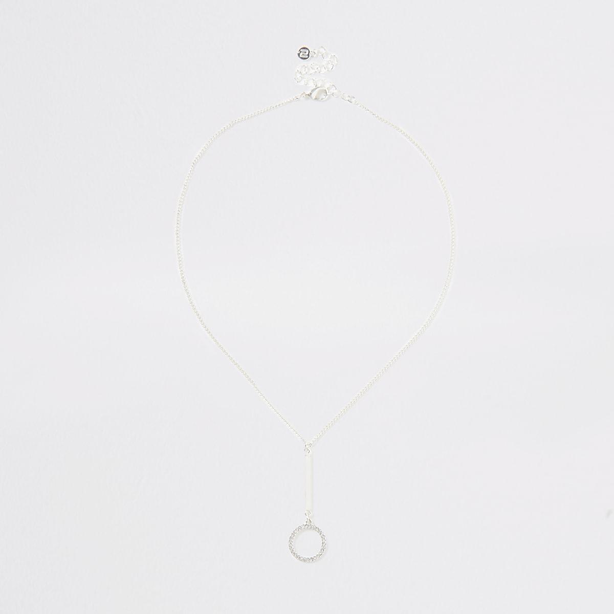 Silver colour diamante interlink necklace