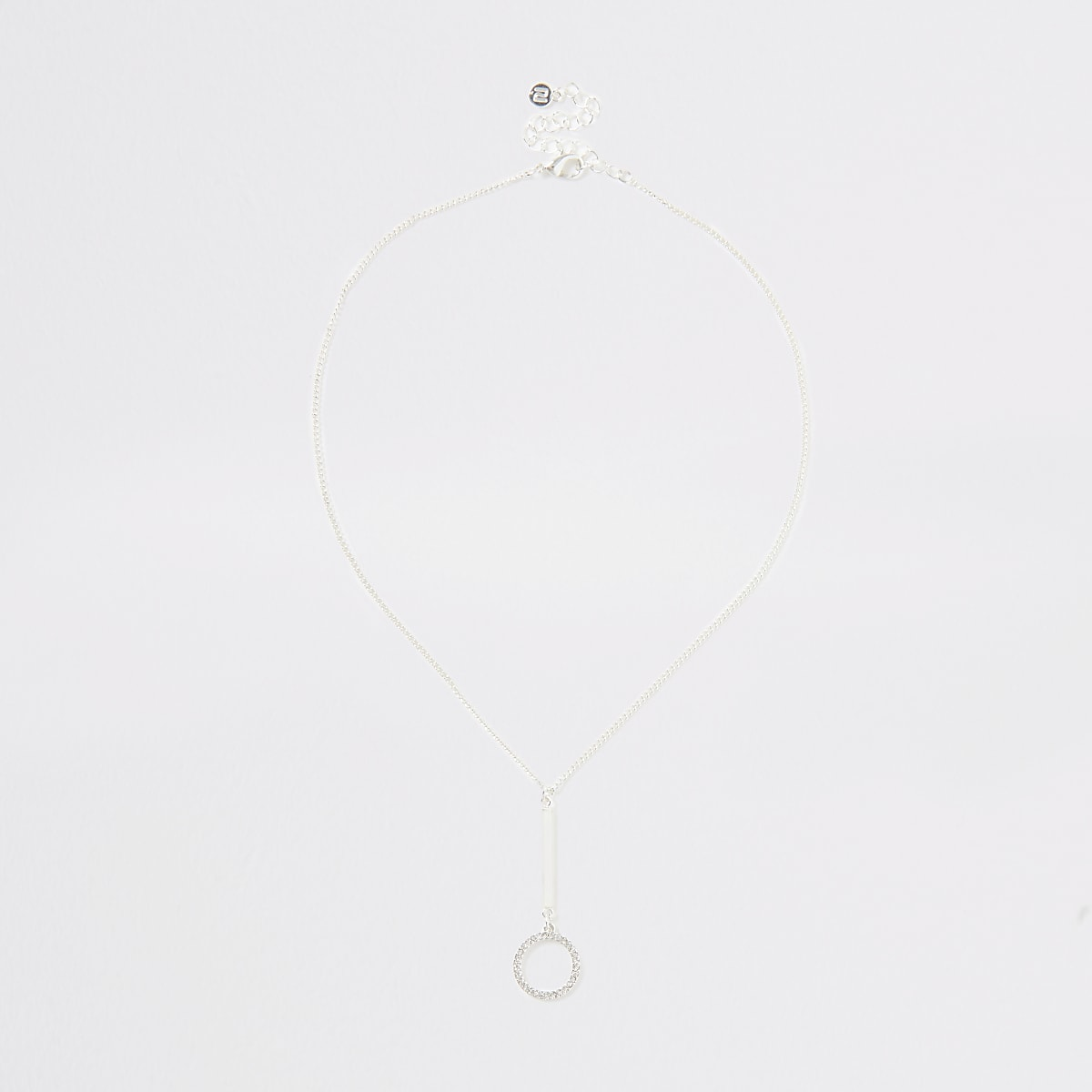 Zilverkleurige ketting met hanger en siersteentjes