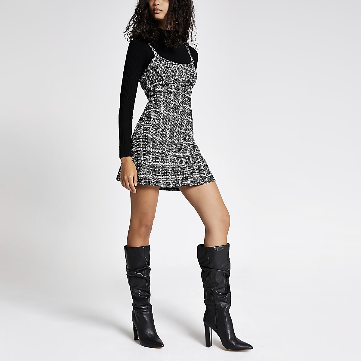 Black boucle check A line pinafore dress