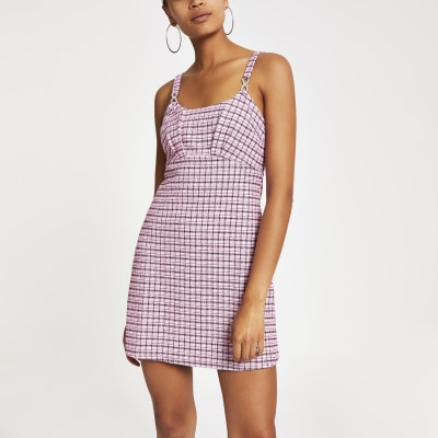 Pink Boucle Check A Line Pinafore Dress by River Island