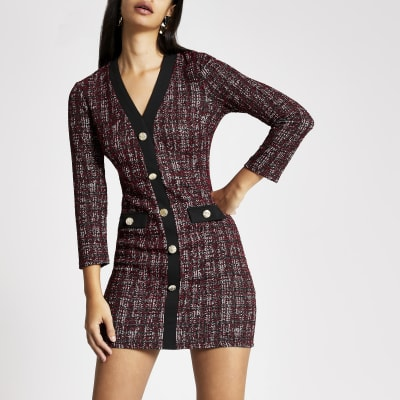 Red check boucle cardigan dress