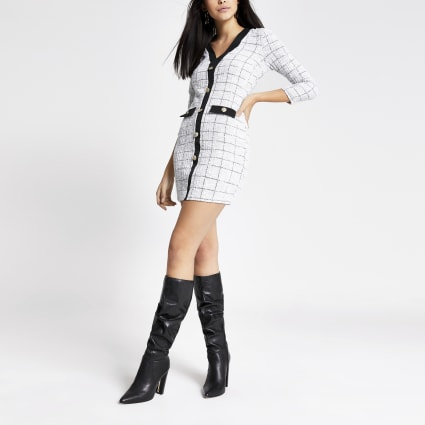 White boucle button front cardigan dress