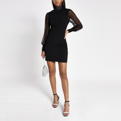 Black bodycon high neck sheer sleeve dress