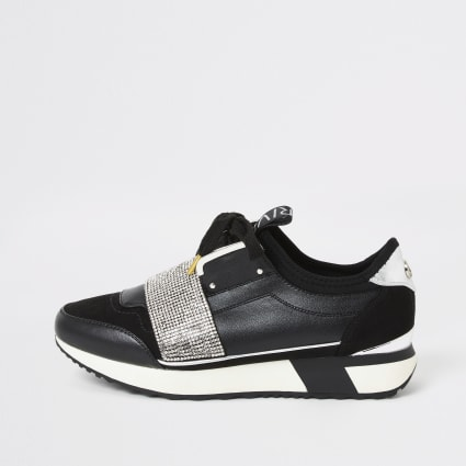 Black elasticated diamante runner trainers
