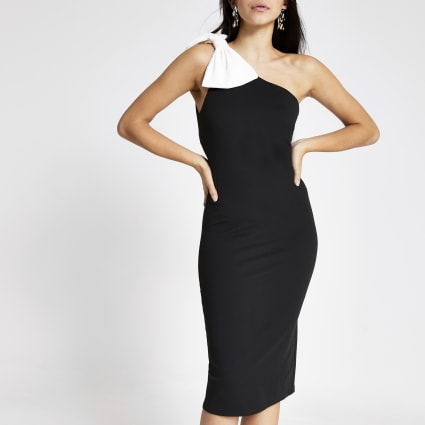Black one shoulder contrast bow midi dress