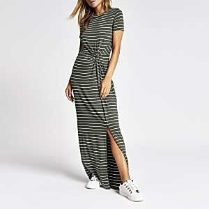 Khaki stripe twist front maxi dress