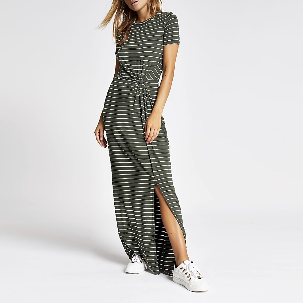 Khaki stripe twist front maxi dress