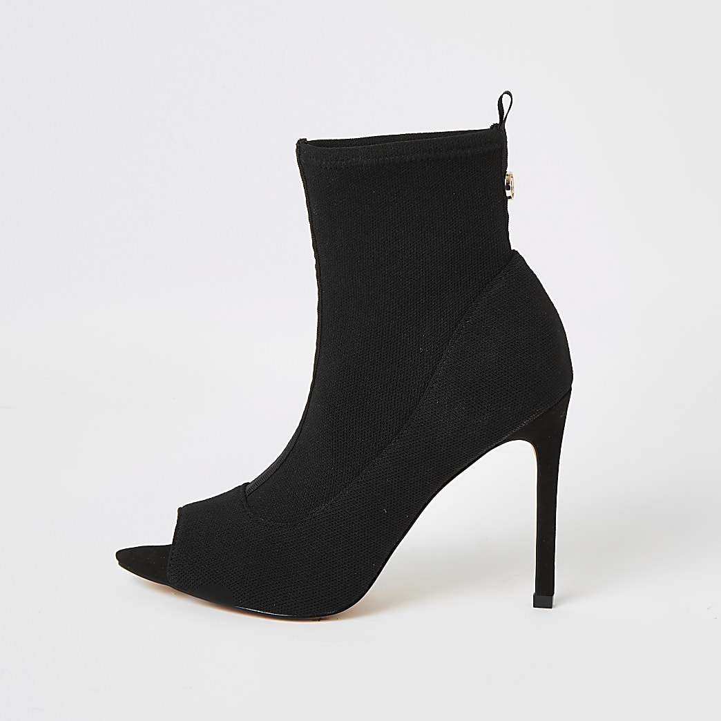 Black open toe heeled sock boots