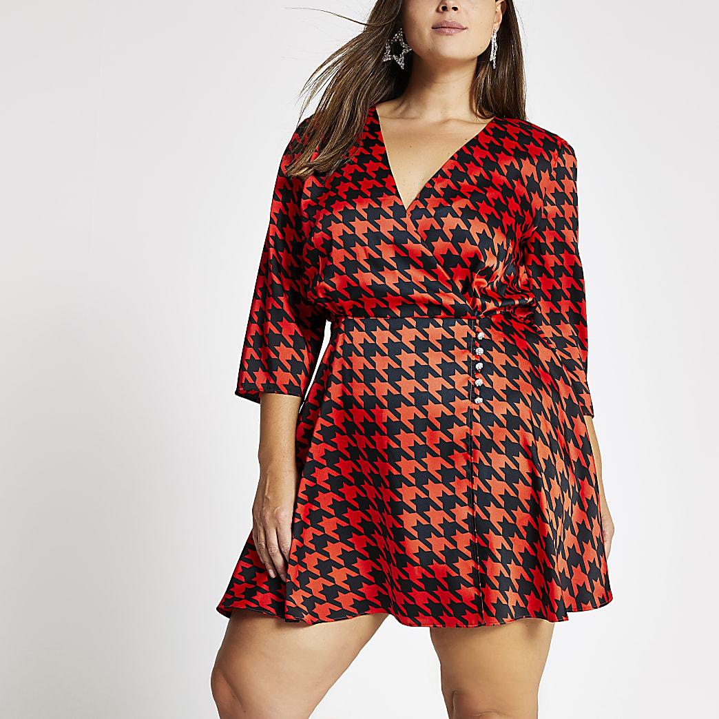 Plus red dogtooth check print wrap dress