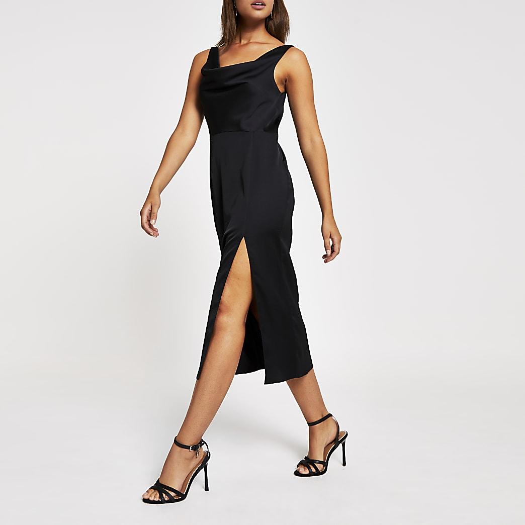 Black cowl neck midi slip dress