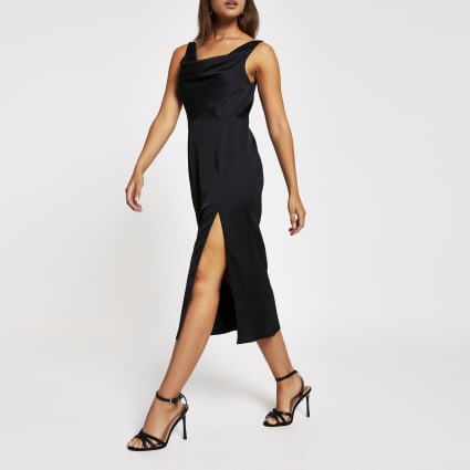 Black cowl neck midi slip dress