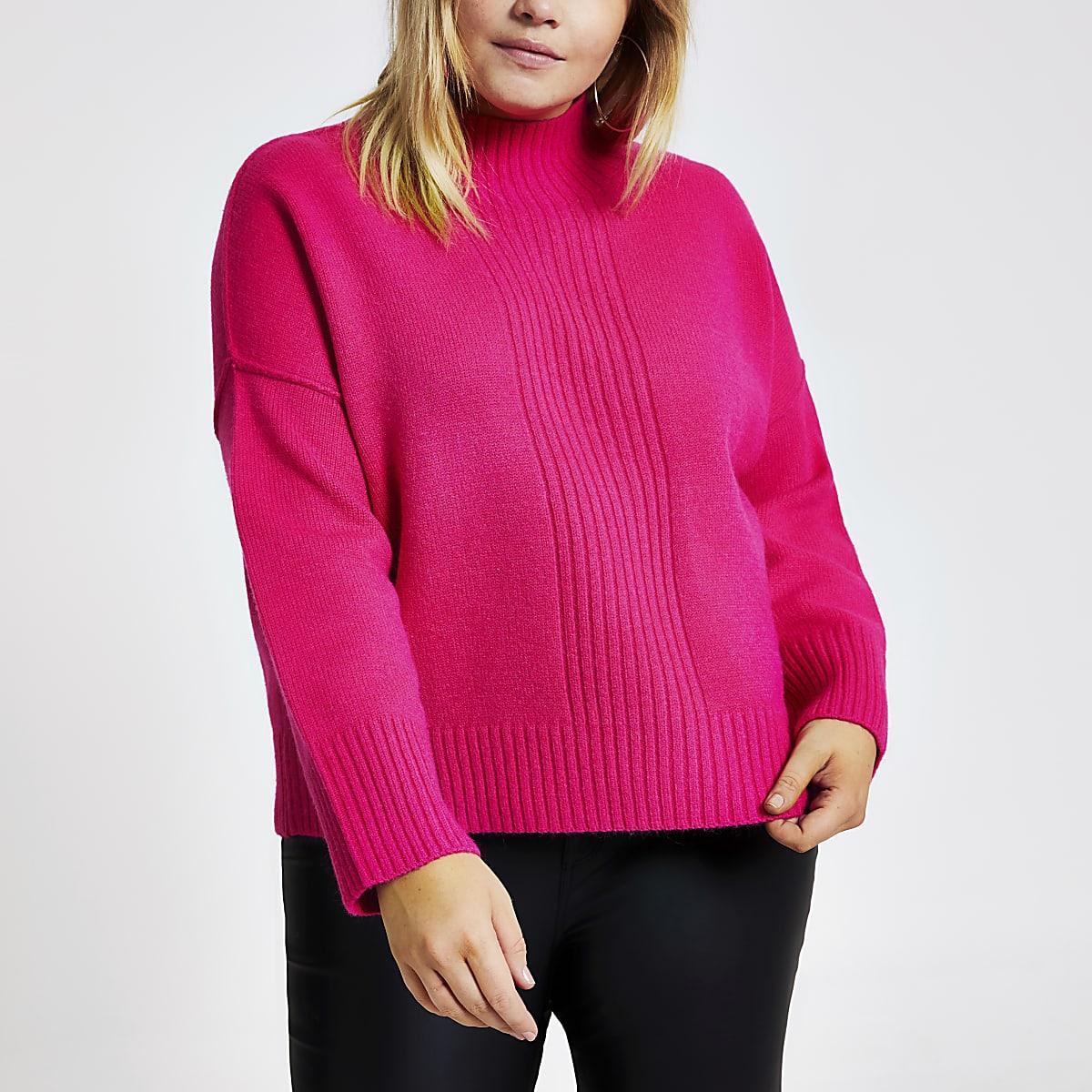 RI Plus - Roze gebreide pullover met col